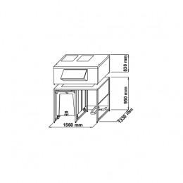 Contenitore ghiaccio  capacità carrello 108 kg x 2 capacità riserva 1.000 kg 1560x1330x2460 mm
