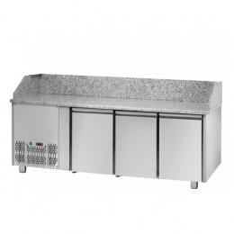 Tavolo Refrigerato Pizza GN 1/1 con 3 porte, gruppo motore a sinistra e piano in granito