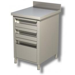 Cassettiera in acciaio inox con alzatina 2 cassetti e un cassettone 50x70x85h cm