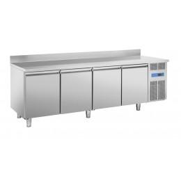 Tavolo refrigerato ventilato 4 porte con alzatina 2480x800x950 h mm