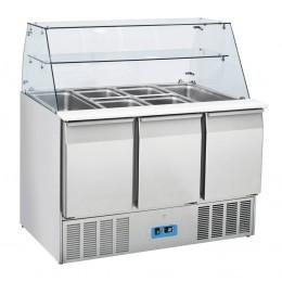 Banco frigo statico saladette 3 porte  in acciaio inox 365 lt 1365x700x1295 h mm