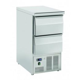 Saladette statica 1 porta con 2 cassetti in acciaio inox  top chiuso 215 lt 900x700x880 h mm