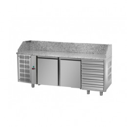 Tavolo Refrigerato Pizza GN 1/1 con 2 porte, gruppo motore a sinistra, 6 cassetti neutri e piano in granito