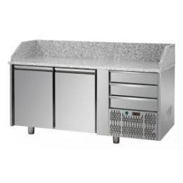 Tavolo Refrigerato Pizza GN 1/1 con 2 porte, 3 cassetti neutri e piano in granito