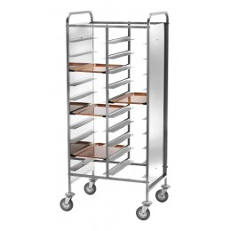 Portavassoi per n. 20 vassoi in acciaio inox con pannelli laterali in PERFEX bianco