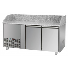 Tavolo Refrigerato Pizza GN 1/1 con 2 porte, gruppo motore a sinistra e piano in granito