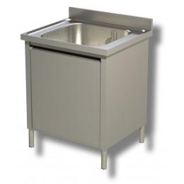 Lavello / Lavatoio in acciaio inox armadiato 1 vasca 70x60x85h cm