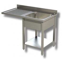 Lavello / Lavatoio 1 vasca in acciaio inox su fianchi con vano lavastoviglie SX-140x60x85h cm