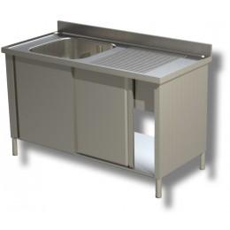 Lavello / Lavatoio in acciaio inox armadiato 1 vasca sgocciolatoio DX 140x60x85h cm