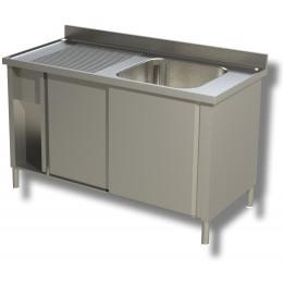 Lavello / Lavatoio in acciaio inox armadiato 1 vasca sgocciolatoio SX 140x60x85h cm
