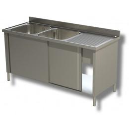 Lavello / Lavatoio in acciaio inox armadiato 2 vasche sgocciolatoio DX 150x70x85h cm
