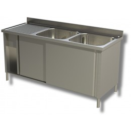 Lavello / Lavatoio in acciaio inox armadiato 2 vasche sgocciolatoio SX  200x60x85h cm