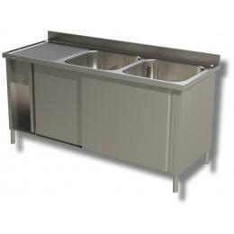Lavello / Lavatoio in acciaio inox armadiato 2 vasche sgocciolatoio SX 140x70x85h