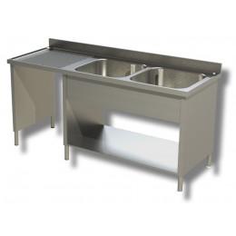 Lavello / lavatoio 2 vasche in acciaio inox su fianchi con vano pattumiera sx 1800x700x850h mm