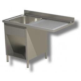 Lavello / Lavatoio 1 vasca in acciaio inox su fianchi con vano lavastoviglie DX-140x70x85h cm