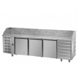 Tavolo Refrigerato Pizza GN 1/1 con 3 porte, gruppo motore a sinistra, 6 cassetti neutri e piano in granito