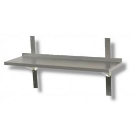 Mensola a parete liscia in acciaio inox profondità 30 cm 140x30x4h cm