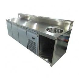 Banco Bar Espositore Refrigerato con lavabo e sportelli 260 cm