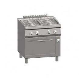 Cucina a Gas 4 Fuochi + Forno Elettrico Statico 1/1 GN