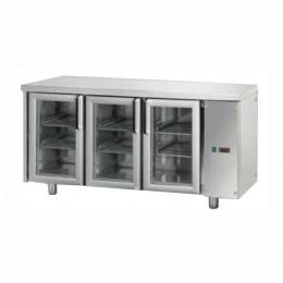 Tavolo Refrigerato GN 1/1 con 3 porte in vetro predisposto per unità frigorifera remota