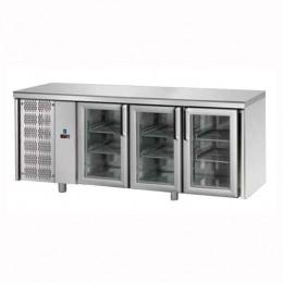 Tavolo Refrigerato GN 1/1 con 3 Porte in vetro e Motore a sinistra