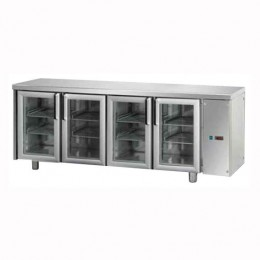 Tavolo Refrigerato GN 1/1 con 4 porte in vetro predisposto per unità frigorifera remota