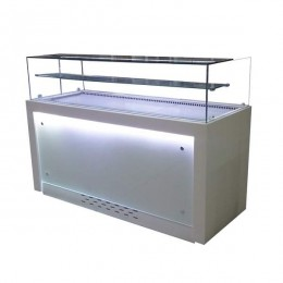Banco Refrigerato ultrapanoramico illuminato a LED rivestito in CORIAN dimensioni 142 cm