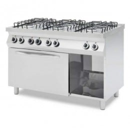 Cucina professionale a gas 6 fuochi con forno a gas 4 teglie GN 1/1