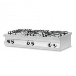 Cucina a Gas 6 fuochi da banco in acciaio inox AISI 304 potenza totale fuochi 25,5 kW