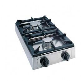 Fornello 2 bruciatori a gas professionale con doppia coppia corona da 6,5Kw Bruciatore rapido da 4,5Kw