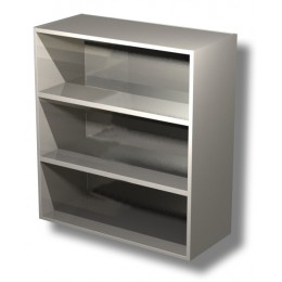 Pensile in acciaio inox a giorno con 2 ripiani altezza 100 cm 70x40x100h cm