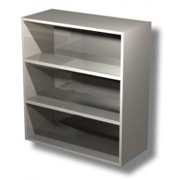 Pensile in acciaio inox a giorno con 2 ripiani altezza 100 cm 90x40x100h cm
