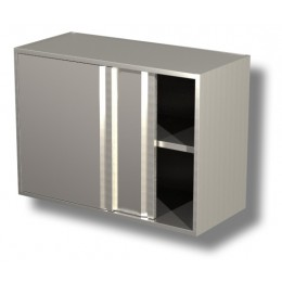 Pensili in acciaio inox con porte scorrevoli e 1 ripiano altezza 80 cm-Pensile 130x40x80h cm con porte scorrevoli