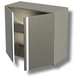 Pensile in acciaio inox con porte a battente e 1 ripiano altezza 65 cm 80x40x65h cm