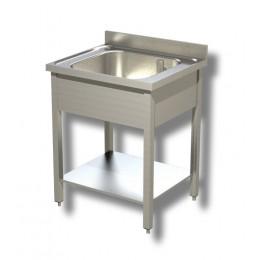 Lavello / Lavatoio in Acciaio Inox 1 Vasca con ripiano e alzatina profondità 60 cm 80x60x85h cm