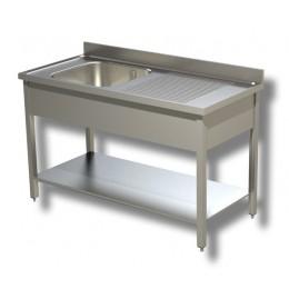 Lavello / Lavatoio in Acciaio Inox 1 Vasca con ripiano e Sgocciolatoio DX profondità 70 cm 130x70x85h cm