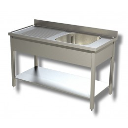 Lavello / Lavatoio in Acciaio Inox 1 Vasca con ripiano e Sgocciolatoio SX profondità 60 cm 130x60x85h cm