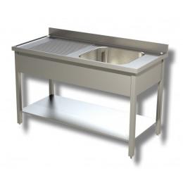 Lavello / Lavatoio in Acciaio Inox 1 Vasca con ripiano e Sgocciolatoio SX profondità 60 cm 140x60x85h cm