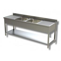 Lavello/Lavatoio in Acciaio Inox 2 Vasche con 2 Sgocciolatoi, ripiano e alzatina profondità 60 cm 200x60x85h cm