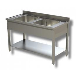 Lavello/Lavatoio Professionale in Acciaio Inox 2 Vasche con ripiano e alzatina profondità 60 cm 130x60x85h cm