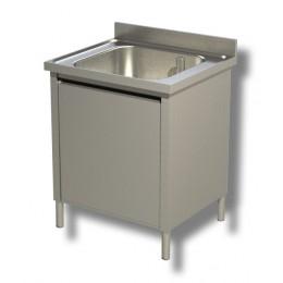 Lavello / Lavatoio in acciaio inox armadiato 1 vasca profondità 70 cm 60x70x85h cm