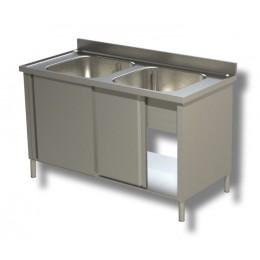 Lavello/Lavatoio in Acciaio Inox 2 Vasche armadiato profondità 60 cm 100x60x85 cm