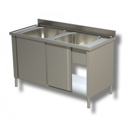 Lavello/Lavatoio in Acciaio Inox 2 Vasche armadiato profondità 60 cm 130x60x85 cm