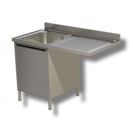 Lavello / Lavatoio 1 vasca in acciaio inox armadiato con vano lavastoviglie DX 140x60x85h cm