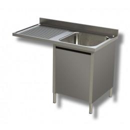 Lavello / Lavatoio 1 vasca in acciaio inox armadiato con vano lavastoviglie SX 140x60x85h cm