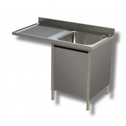 Lavello / Lavatoio 1 vasca in acciaio inox armadiato con vano lavastoviglie SX 120x70x85h cm