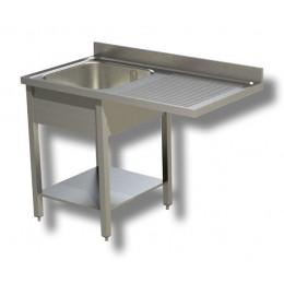 Lavello / Lavatoio 1 vasca in acciaio inox con vano lavastoviglie DX 140x60x85h cm