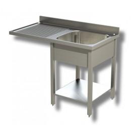 Lavello / Lavatoio 1 vasca in acciaio inox con vano lavastoviglie SX 140x60x85h cm