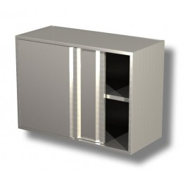 Pensili in acciaio inox con porte scorrevoli e 1 ripiano altezza 65 cm-Pensile 100x40x65 cm porte scorrevoli e ripiano