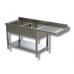 Lavello / Lavatoio 2 vasche in acciaio inox con vano lavastoviglie DX 180x60x85h cm
